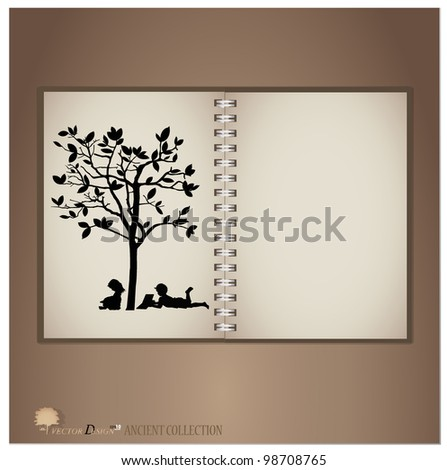 Vintage notebook designs (Silhouette of children read a book under tree). Vector illustration.