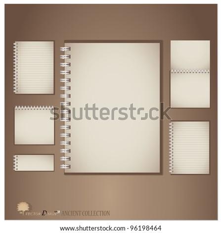 Vintage notebook designs. Vector illustration.