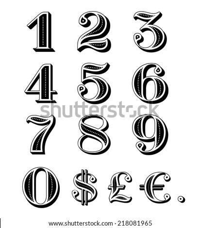 Vintage numbers set including dollar, euro, pound symbols and dot.