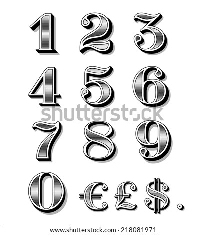 vintage numbers set including...