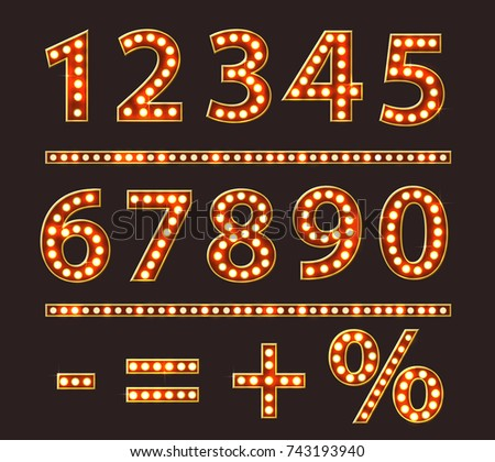 vintage numbers with bulb lamps
