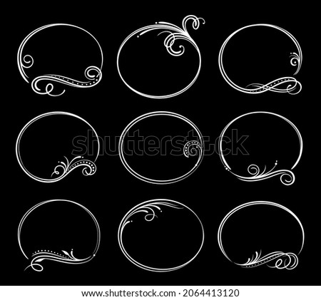 Vintage obituary, mourning borders. Funeral service frames, vector ornamental dividers, round decorations with curly embellishments, floral elements. Funeral cards retro frames, calligraphic borders