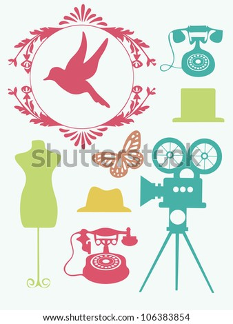 vintage objects collection. vector illustration