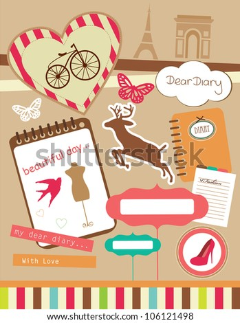 vintage objects scrapbook collection. vector illustration