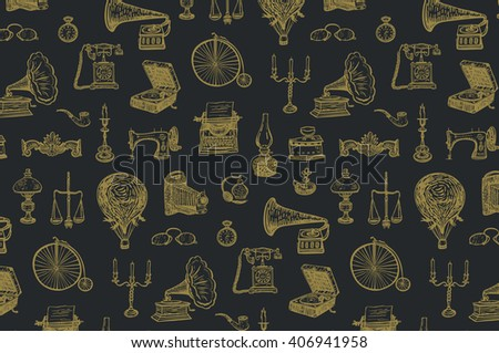 vintage objects vector graphic