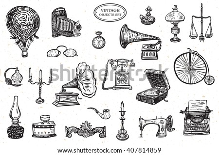 vintage objects vector graphic set