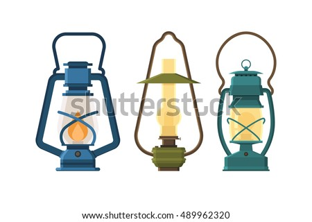Vintage Oil Lantern Set Isolated On White Background Different Camping Lamp Collection Modern And