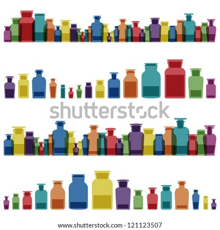 Vintage old glass jars, bottles and medicine chemistry potions colorful glassware detailed illustration collection background vector