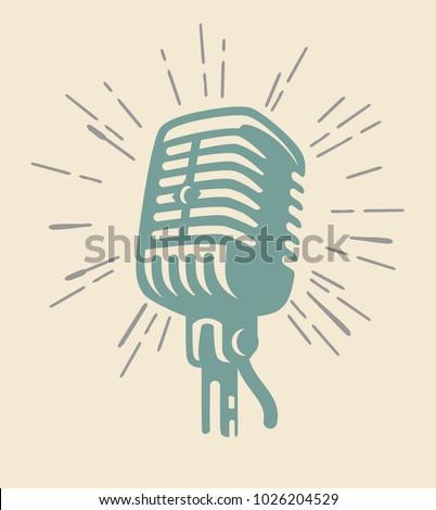 vintage old microphone on beige background. Vector