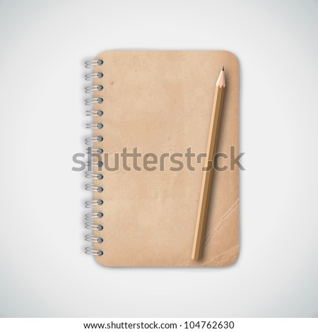 Vintage Old Notebook Paper with Pencil Vector