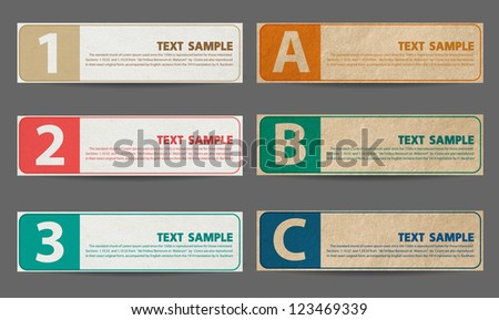 vintage old paper banners / stickers / badges with print decorations, one two three steps