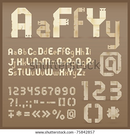 Vintage old paper origami alphabet. Vector font - stock vector