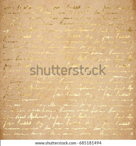 stock-vector-vintage-old-paper-texture-with-golden-ink-handwriting-letter-poems-background-scrapbooking