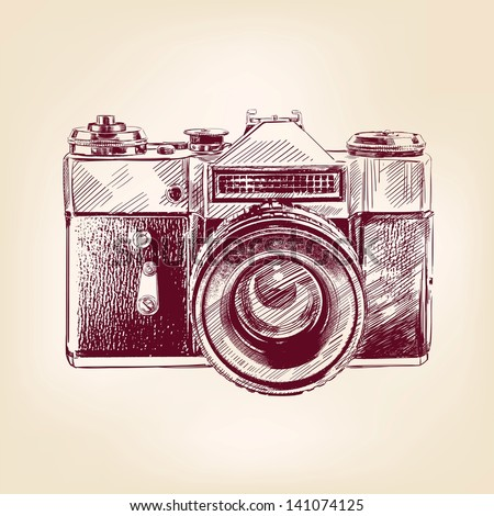 vintage old photo camera drawn