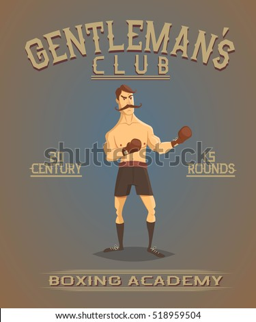 vintage old poster with boxer