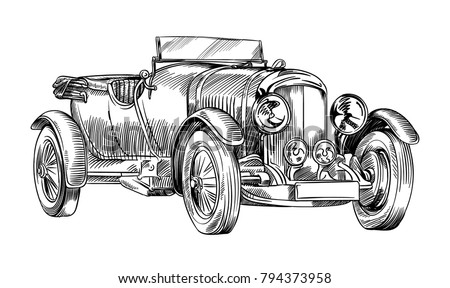 Free Line Old Car Vector Download Free Vector Art Stock Graphics