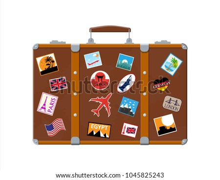 Vintage old travel suitcase. Leather retro bag with stickers. Brown briefcase with belts. Labels of countrys and citys all over the world. Baggage and luggage. Vector illustration in flat style