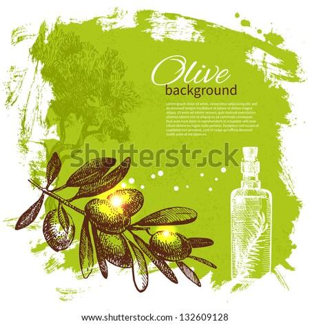 Vintage olive background. Hand drawn illustration