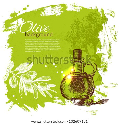Vintage olive background. Hand drawn illustration