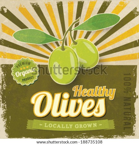 Vintage Olive label poster vector illustration