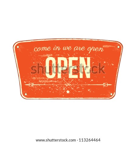 vintage open sign vector illustration