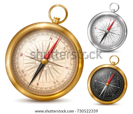 Vintage or retro style compass in shiny metal case. Set of different colored compasses. Vector illustration. Isolated on white background.