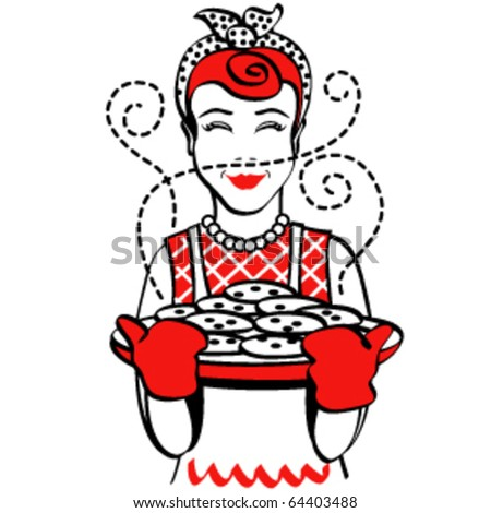 Vintage Or Retro Style Mother Holding Hot, Freshly Baked ...