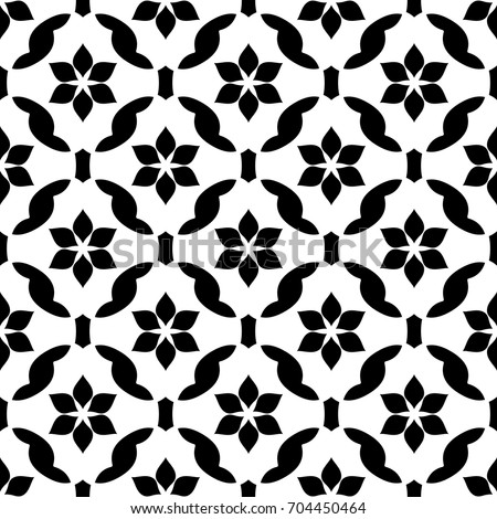 Vintage oriental floral lattice ornament. Simple geometric vector pattern. Arabesque seamless background. Decorative printing block. Interior textile, fabric, wallpaper black and white allover design.