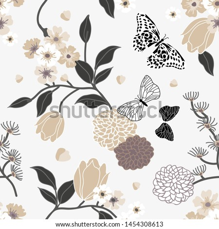 Vintage oriental print. Monochrome seamless vector pattern inspired by kimono art. Beautiful flowers, butterflies and leaves on light background. Retro textile collection.