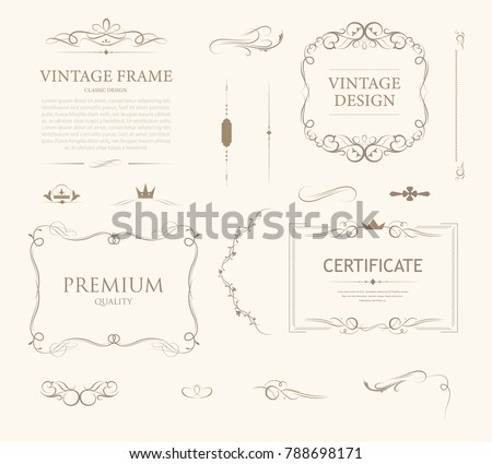 vintage ormament frame design with calligraphy swirl. illustration vector luxury style.