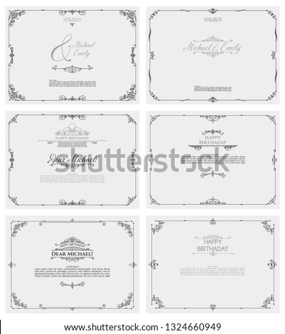 Vintage ornament greeting card. Set of retro frames for wedding and invitation cards. Composition of refined lines with typography on a gray background. #1324660949