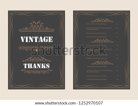 Vintage Ornament Greeting Card Vector Template and retro invitation design background, can be used for wedding flourishes ornaments frame. A4 design page