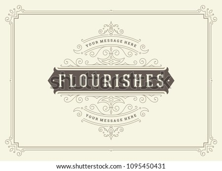 Vintage ornament greeting card vector template. Good for retro invitation, advertising or other design and place for text. Flourishes ornamental frame. #1095450431