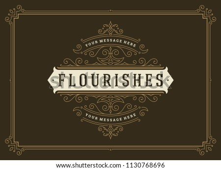 Vintage ornament greeting card vector template. Good for retro invitation, advertising or other design and place for text. Flourishes ornamental frame. #1130768696