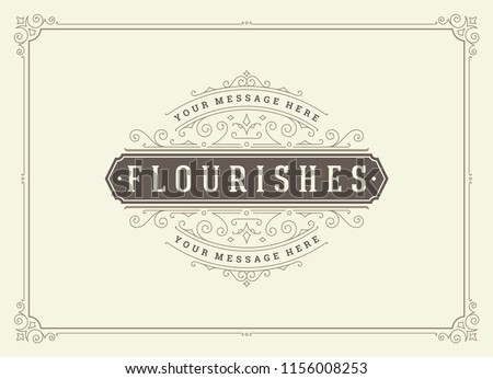 Vintage ornament greeting card vector template. Good for retro invitation, advertising or other design and place for text. Flourishes ornamental frame. #1156008253