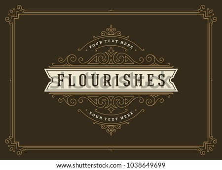 Vintage ornament greeting card vector template. Retro wedding invitation, advertising or other design and place for text. Flourishes ornamental frame. #1038649699