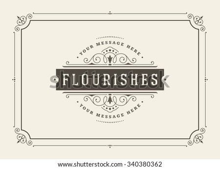 Vintage ornament greeting card vector template. Retro wedding invitations, advertising or other design and place for text. Flourishes frame. #340380362