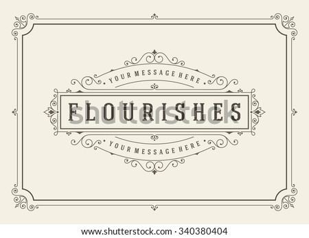Vintage ornament greeting card vector template. Retro wedding invitations, advertising or other design and place for text. Flourishes frame. #340380404