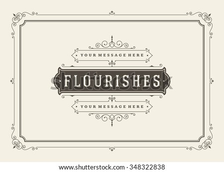 Vintage ornament greeting card vector template. Retro wedding invitations, advertising or other design and place for text. Flourishes frame. #348322838