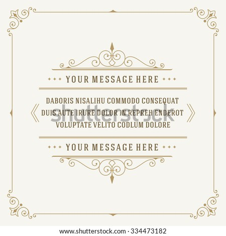 Vintage Ornament Quote Marks Box Frame Vector template design and place for text. Retro flourishes frame chalkboard style.