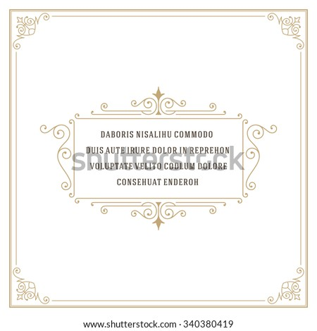 Vintage Ornament Quote Marks Box Frame Vector template design and place for text. Retro flourishes frame style.