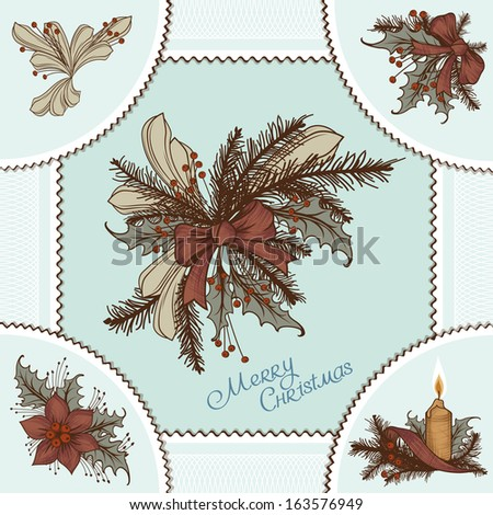 Vintage Ornamental Background and Drawn Christmas Illustration