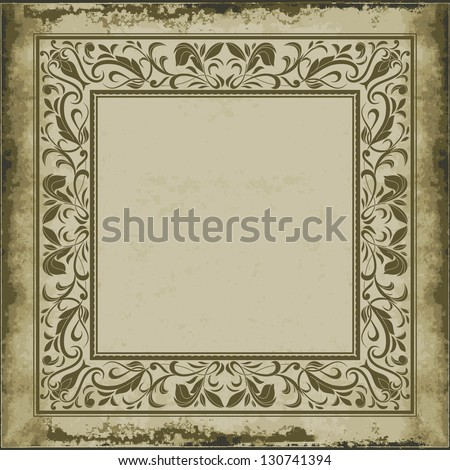Vintage ornamental frame on old paper,  in baroque style