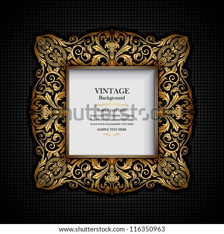 Vintage ornamental frame, rich, royal, luxury design, creative, trendy gold element for page and web decoration on black abstract background