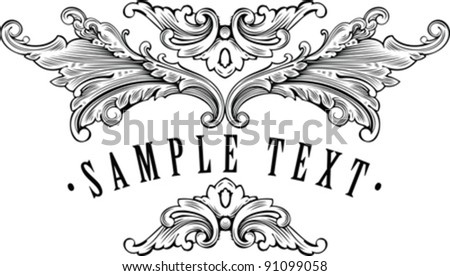 vintage ornamental frame template for your title