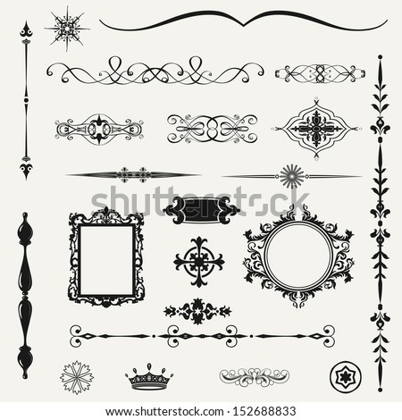 Vintage ornaments and dividers calligraphic design elements and page decoration exclusive highest quality retro style set of ornate floral patterns template