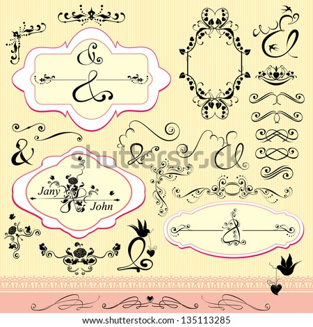 Vintage ornaments and frames, calligraphic design elements and page decoration, signs AND for wedding invitation - stock vector