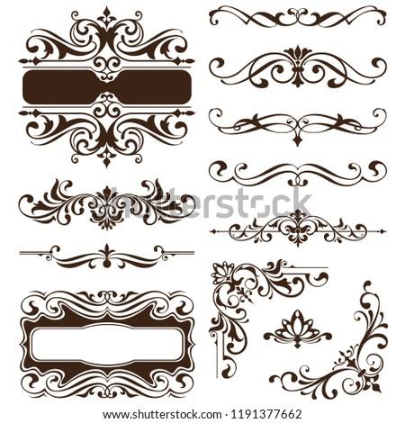Vintage ornaments, design elements, floral frames, patterned corners, decor curb art nouveau