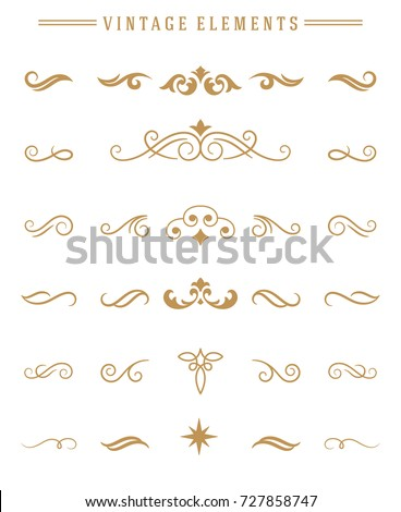 Vintage ornaments set floral elements for design invitations greeting cards, menu frames, and boutique monogram logos. Vector illustration golden color style.