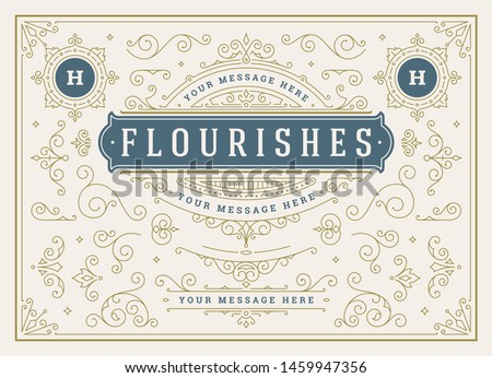 Vintage ornaments swirls and scrolls decorations design elements vector set, flourish ornate calligraphic combinations for retro design, greeting cards, certificates borders, frames and invitations.